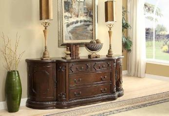 Coaster Gorgeous Carved Cherry Finish Console