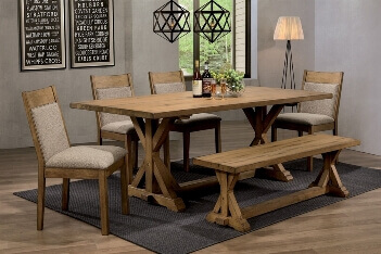 Coaster Douglas Hardwood Dining Set with 4 Chairs & 1 Bench