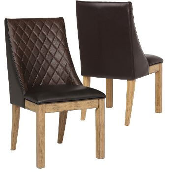 Coaster Dark Brown Diamond Stitched Faux Leather Side Chairs with Distressed Hardwood Legs (set of 2)