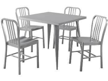 Coaster Silver Metal Dining Table