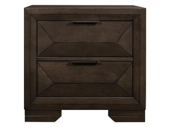 Homelegance Chesky Dark Espresso Finish 2-Drawer Nightstand with Countoured Drawer Fronts