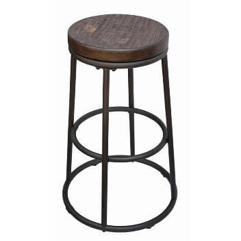 Coaster 30-Inch Round Metal Backless Barstools with Rustic Hardwood Seats (set of 2)