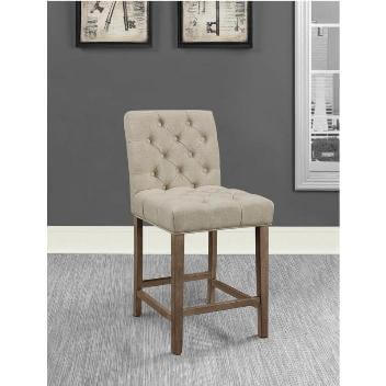 Coaster 24-Inch Beige Upholstered Barstools with Tufted Accents (set of 2)