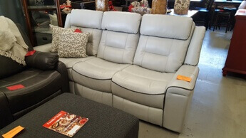 Homelegance Darwan Silver Gel Leather Reclining Sofa with Charcoal Piping