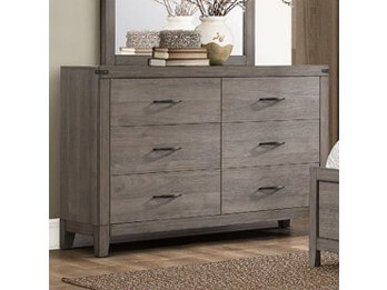 Homelegance Woodrow Grey Distressed Wood-Look Dresser with Metal Corner Accents