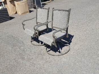 Outdoor Cast Aluminum Swivel Chair with Mesh Upholstery