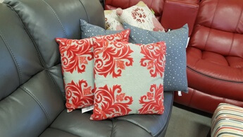 Rizzy Charcoal Throw Pillows with Red Accents (set of 2)