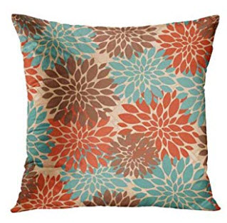 Teal, Orange & Brown Throw Pillows (set of 2)