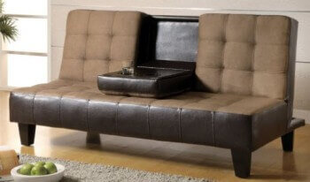 Coaster Brown Microfiber & Dark Brown Faux Leather Sofa Bed with Drop-Down Cupholders