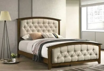 Coaster Sterling Hardwood & Beige Upholstered Full Bed with Tufted Accents