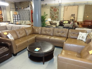 Chateau Dax Martino Tan Italian Leather Sectional with Right-Hand Chaise