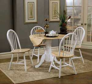 Coaster White & Natural Finish Round Drop-Leaf Dining Table