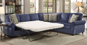 Coaster Kendrick Blue Chenille Sectional with Sleeper