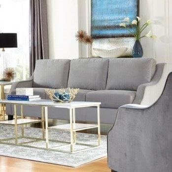 Coaster Silver Sofa with Sloped Arms