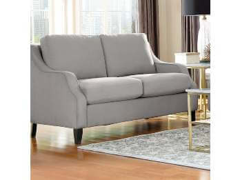 Coaster Silver Loveseat with Sloped Arms