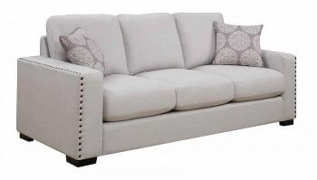 Coaster Ivory Sofa with Squared Arms & Large Nailhead Trim