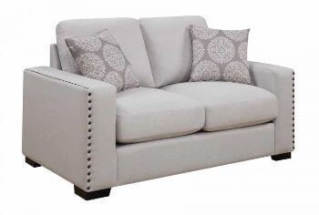Coaster Ivory Loveseat with Squared Arms & Large Nailhead Trim