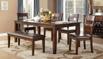 Homelegance Mantello Espresso Dining Set with 2 Chairs & 1 Leaf