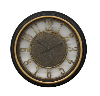 Three Hands Black & Gold 16-Inch Wall Clock