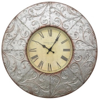Three Hands Textured Galvanized Metal 24-Inch Wall Clock with Scrolling Accents