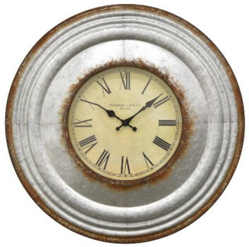 Three Hands Textured Distressed Galvanized Metal 24-Inch Wall Clock