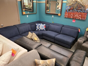 Jason Furniture Blue Fabric Power Reclining 5-Piece Armless Sectional with Power Headrests