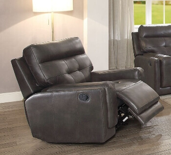 Coaster Charcoal Faux Leather Glider/Recliner with Tufted Accents