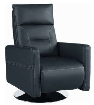Coaster Blue Faux Leather Swivel Rocker/Recliner with Stitched Accents