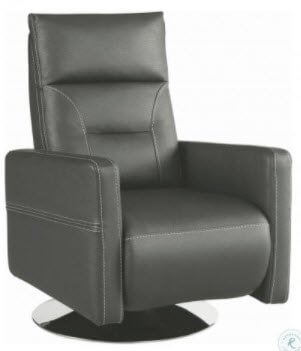 Coaster Silver Faux Leather Swivel Rocker/Recliner with Stitched Accents