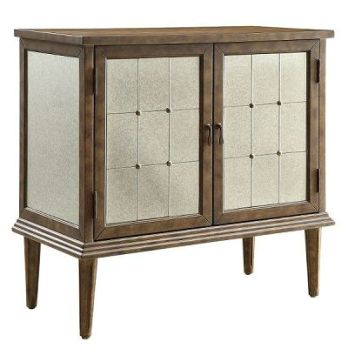 Top Line Champagne Finish Mirrored Wine Cabinet
