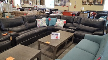 Jason Furniture Black Leather Reclining 6 Piece Sectional With Headrests