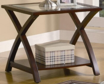 Coaster Fresno Glass & Cappuccino Finish End Table