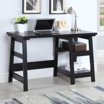 Coaster Black Desk with Open Shelving