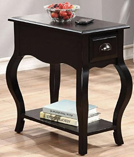 Acme Black Narrow Side Table with Drawer