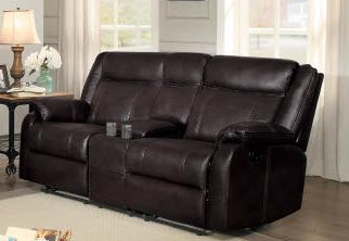 Homelegance Jude Dark Brown Leather Gel Match Gliding/Reclining Console Sofa