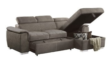 Lovely Homelegance Ferriday Taupe Sectional With Sleeper U0026 Storage