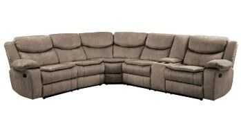 Homelegance Bastrop Brown Fabric 3-Piece Reclining Sectional with Console