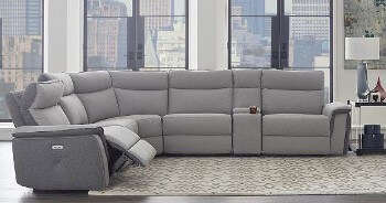 Homelegance Maroni Silver Two-Tone Tweed 6-Piece Power Reclining Sectional with Console & Power Headrests