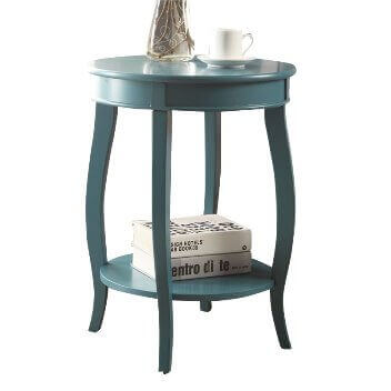 Acme Teal Round Side Table