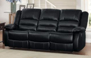 Homelegance Jarita Black Faux Leather Reclining Sofa (blemish on right side)