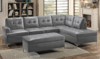 Homelegance Barrington Grey Faux Leather 2-Piece Sectional