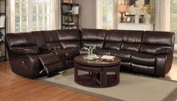 Homelegance Pecos Dark Brown Leather Gel Match 3-Piece Reclining Sectional with Console