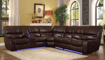 Homelegance Pecos Dark Brown Leather Gel Match 4-Piece Power Reclining Sectional with Console