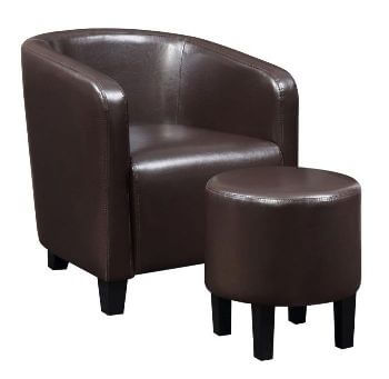 Coaster Dark Brown Faux Leather Accent Chair with Ottoman
