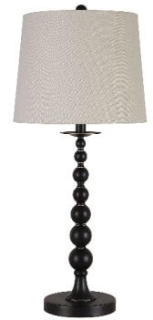 Coaster Bronze Candlestick Table Lamp with Round White Shade