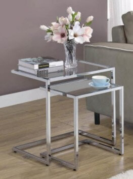 Coaster Silver Metal Nesting Tables with Glass Tops (set of 2)