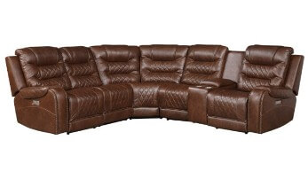Homelegance Putnam Brown Microsuede 6-Piece Power Reclining Sectional