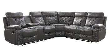 Homelegance Socorro Charcoal Leather-Air Match 3-Piece Reclining Sectional with Console