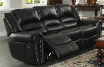 Homelegance Center Hill Black Faux Leather Reclining Sofa