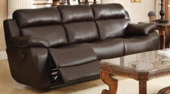 Homelegance Marille Dark Brown Faux Leather Reclining Sofa with Drop-Down